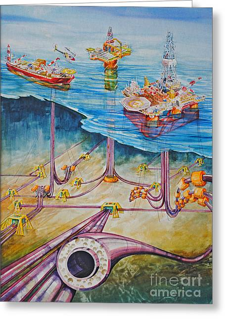 Sea Platform Paintings Greeting Cards - Floating Pipelines  Greeting Card by P Anthony Visco