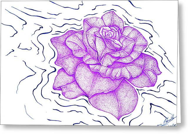 Floating Purple Rose  Greeting Card by Dwayne Hamilton
