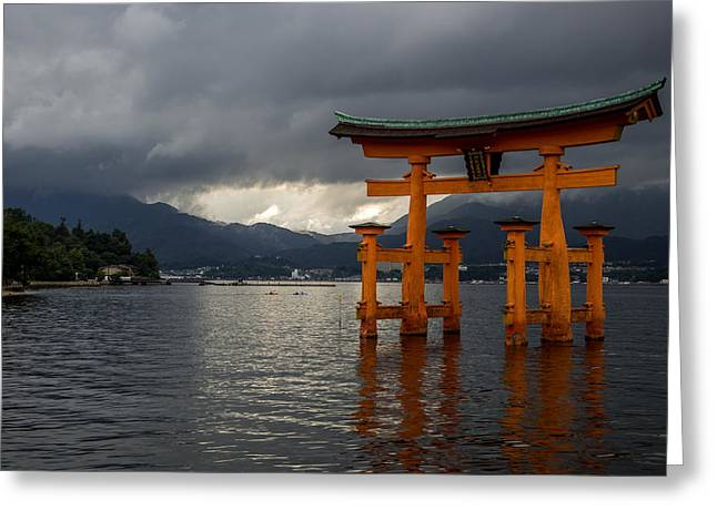 Floating Torii Greeting Cards - Floating Torii in Miyajima Greeting Card by Aymeric Gouin