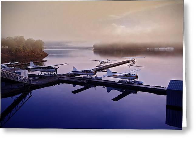 Floatplane Greeting Cards - Floatplane airbase on a foggy dawn Greeting Card by Melody Watson