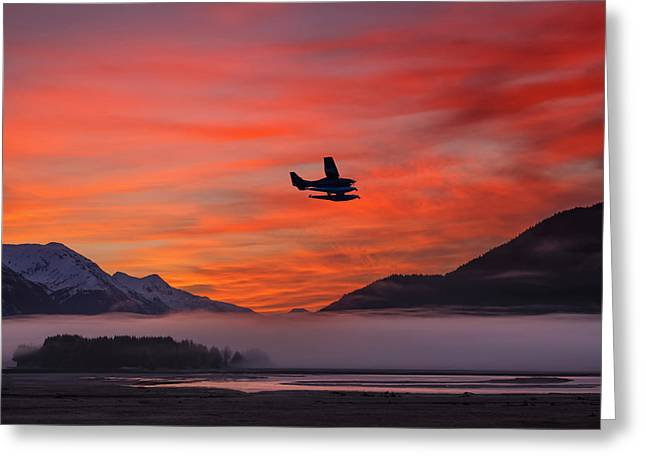 Alaska Panhandle Greeting Cards - Floatplane Takes Off From Juneau Greeting Card by John Hyde