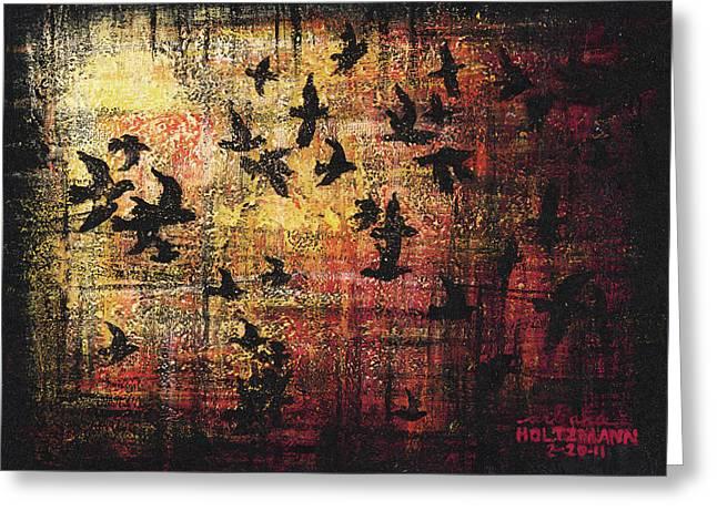 Flocks Of Birds Paintings Greeting Cards - Flock Greeting Card by Arleana Holtzmann