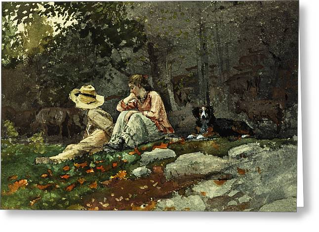 Flock Of Sheep Houghton Farm Greeting Card by Winslow Homer
