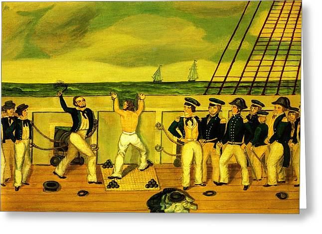 Schooner Greeting Cards - Flogging Scene Aboard a US Naval Warship 1840 Greeting Card by Unknown