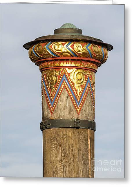 Flooding Greeting Cards - Flood column in the city of Ribe Denmark Greeting Card by Frank Bach