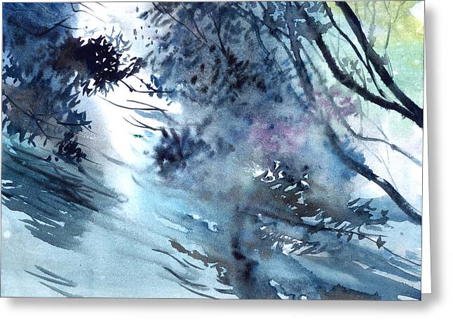 Abstract Digital Paintings Greeting Cards - Flooding Greeting Card by Anil Nene