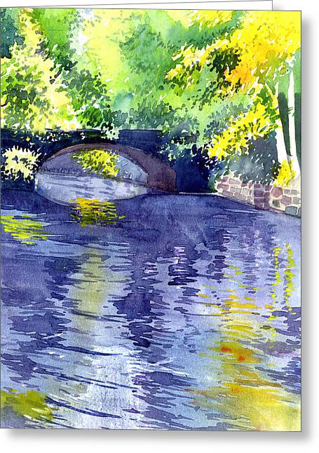 Landscape. Scenic Paintings Greeting Cards - Floods Greeting Card by Anil Nene