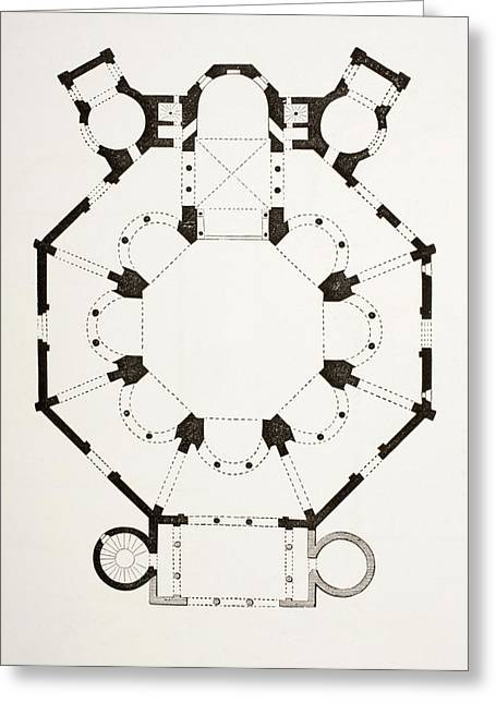 Byzantine Drawings Greeting Cards - Floor Plan Of The 6th Century Byzantine Greeting Card by Vintage Design Pics