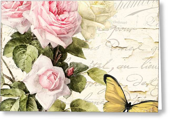 Vintage Rose Greeting Cards - Florabella II Greeting Card by Mindy Sommers