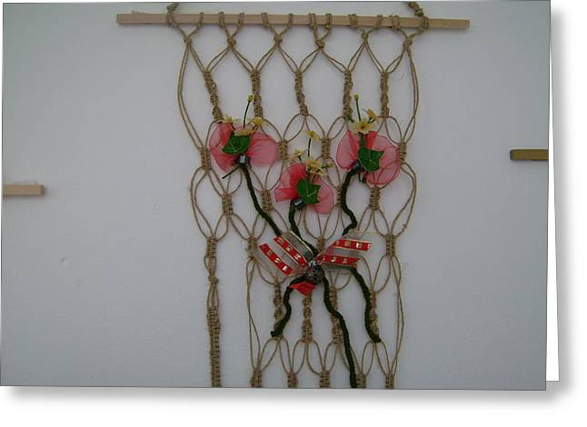 Rustic Tapestries - Textiles Greeting Cards - Floral - String Greeting Card by Larysa Matei