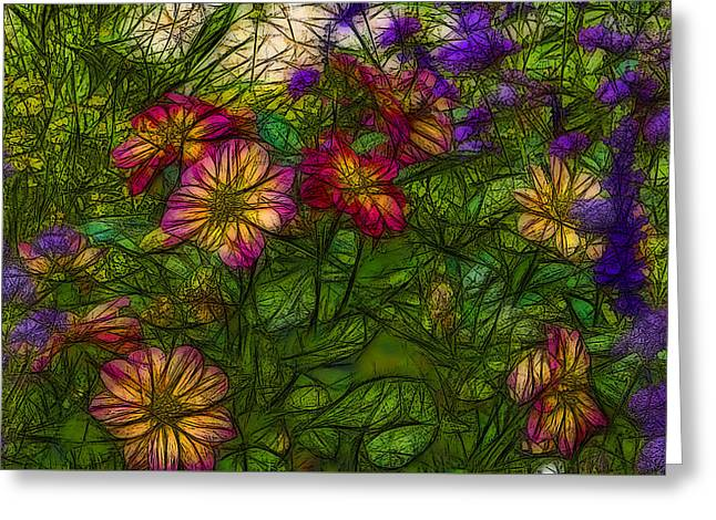 Abstract Digital Digital Greeting Cards - Floral 2 Greeting Card by Jean-Marc Lacombe