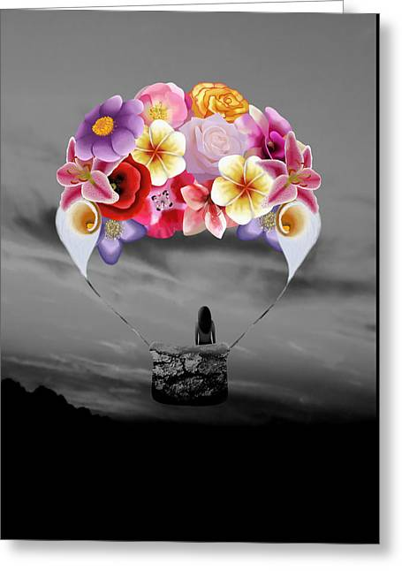 Floral Air Balloon Greeting Card by Charlotte Jesse