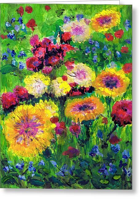 Valluzzi Greeting Cards - Floral and grasses mini oil painting on masonite Greeting Card by Regina Valluzzi