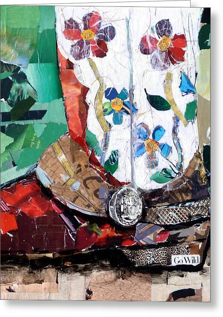 Torn Paintings Greeting Cards - Floral Boot Greeting Card by Suzy Pal Powell