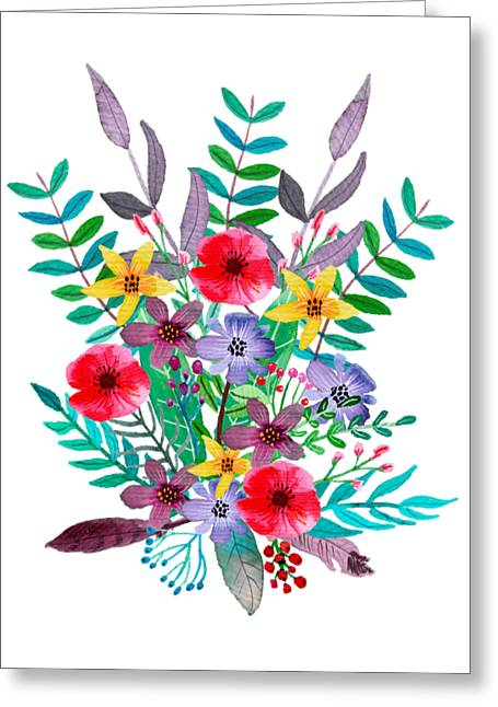 Floral Bouquet Greeting Card by Amanda Lakey