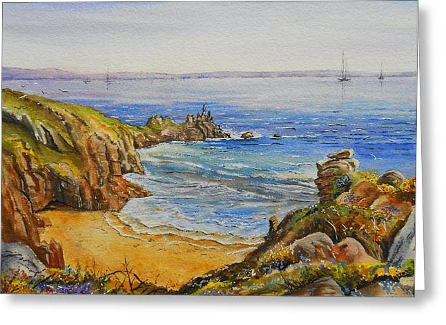 Cliffs Mixed Media Greeting Cards - Floral Cliffs Greeting Card by Andrew Read
