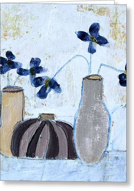 Interior Still Life Mixed Media Greeting Cards - Floral Delight Greeting Card by Judy Jacobs