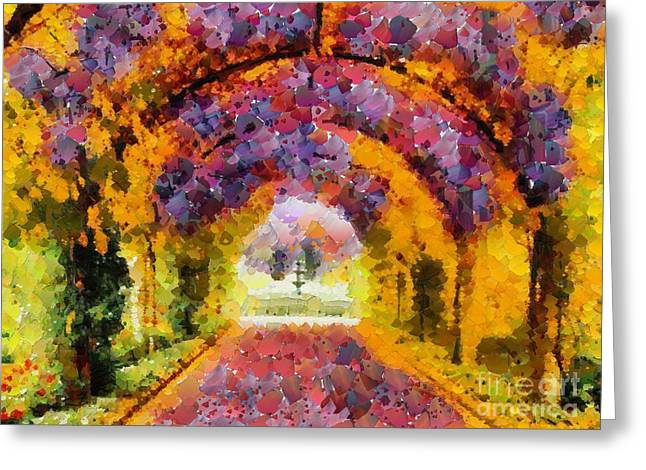Print On Canvas Greeting Cards - Floral Entrance In Tiny Bubbles Greeting Card by Catherine Lott