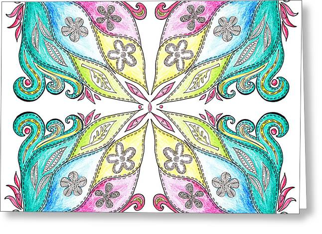 Unique Quilts Greeting Cards - Floral Flow Quilt  Greeting Card by Irina Sztukowski