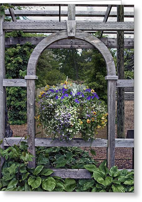 Floral Garden View Greeting Card by Thomas Woolworth