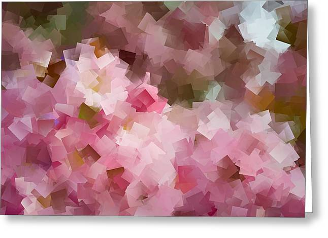 Geometric Artwork Greeting Cards - Floral geometric Abstract Greeting Card by Lilia D