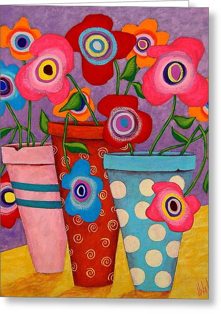 Dots Greeting Cards - Floral Happiness Greeting Card by John Blake