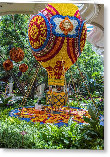 Ceasars Palace Greeting Cards - Floral Hot Air Balloon - Wynn Hotel - Las Vegas Nevada Greeting Card by Jon Berghoff