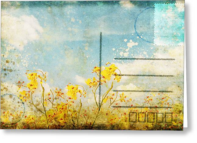 Texting Photographs Greeting Cards - Floral In Blue Sky Postcard Greeting Card by Setsiri Silapasuwanchai