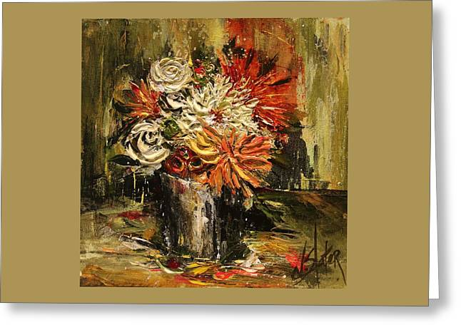 Warm Tones Greeting Cards - Floral in Bucket Greeting Card by Nicole Slater