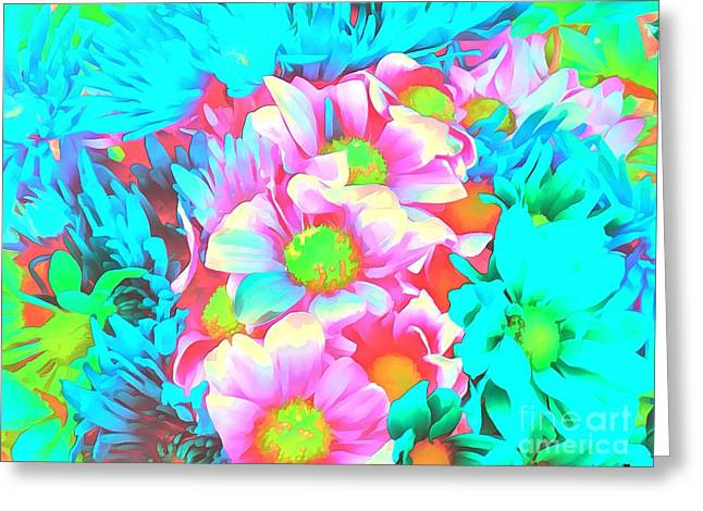 Catherine White Paintings Greeting Cards - Floral Iredescents Greeting Card by Catherine Lott