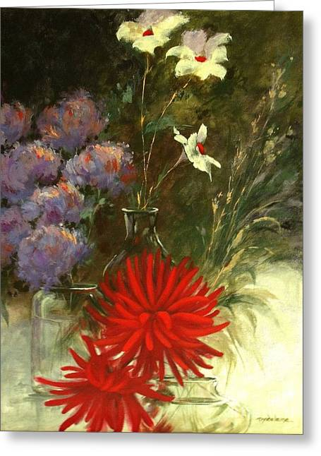 Glass Vase Greeting Cards - Floral Medley Greeting Card by Madeleine Holzberg