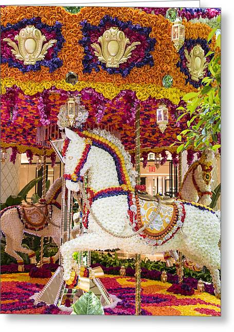 Ceasars Palace Greeting Cards - Floral Merry-Go-Round - Wynn Hotel - Las Vegas Nevada Greeting Card by Jon Berghoff