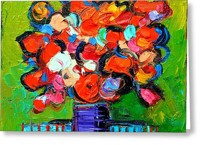 Nature Abstract Greeting Cards - Floral Miniature - Abstract 0315 Greeting Card by Mona Edulesco