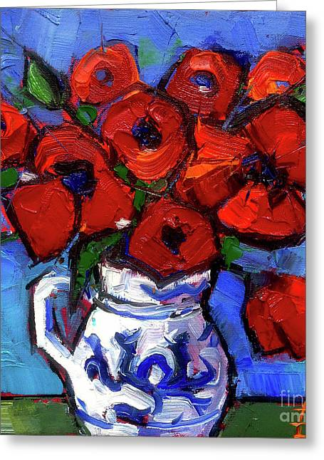 Abstract Expression Greeting Cards - Floral Miniature - Abstract 0515 - Red Poppies Greeting Card by Mona Edulesco