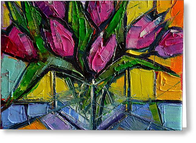 Floral Miniature - Abstract 0615 - Pink Tulips Greeting Card by Mona Edulesco