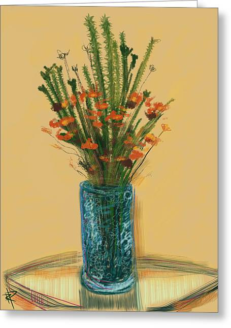 Glass Table Reflection Mixed Media Greeting Cards - Floral no.28 Greeting Card by Russell Pierce