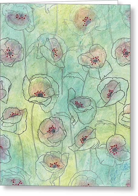 Floral Patterned Greeting Cards - Floral Pattern On A Watercolor Greeting Card by Gillham Studios