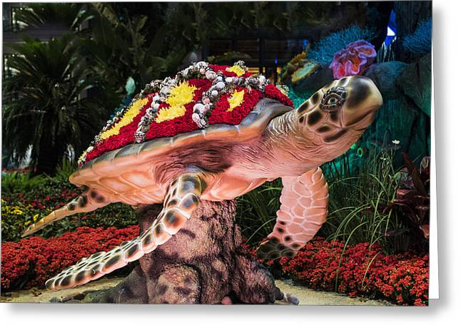Ceasars Palace Greeting Cards - Floral Shell Turtle - Bellagio Conservatory - Las Vegas Nevada Greeting Card by Jon Berghoff