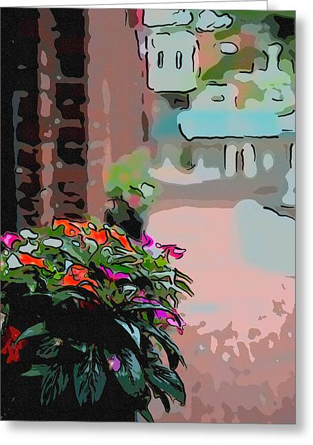 Amesbury Greeting Cards - Floral sidewalk in Amesbury MA Greeting Card by Thomas Logan