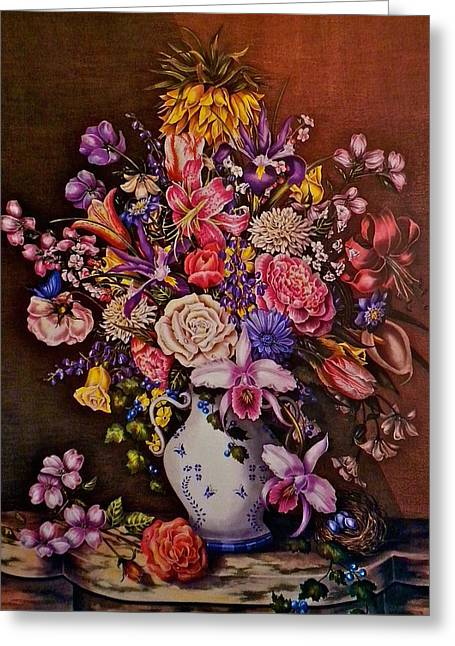 """flower Still Life Prints"" Greeting Cards - Floral Splendor Greeting Card by Jan Law"