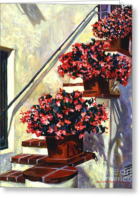 Barbara Paintings Greeting Cards - Floral Staircase Greeting Card by David Lloyd Glover