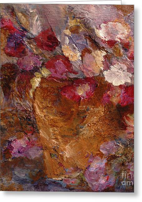 Claire Bull Greeting Cards - Floral Still Life Pinks Greeting Card by Claire Bull