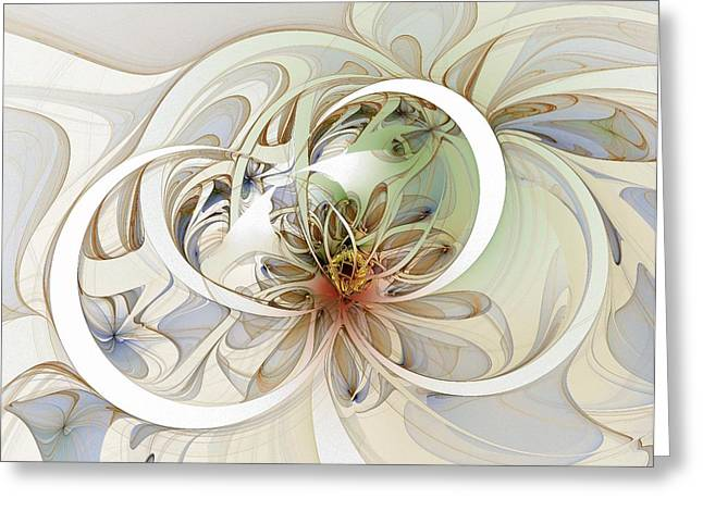 Floral Digital Art Greeting Cards - Floral Swirls Greeting Card by Amanda Moore