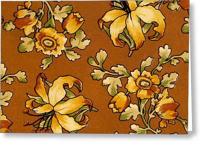 Cellphone Greeting Cards - Floral Textile Design Greeting Card by English School