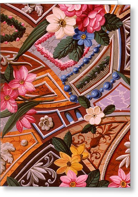 Floral Textile Design Greeting Card by William Kilburn