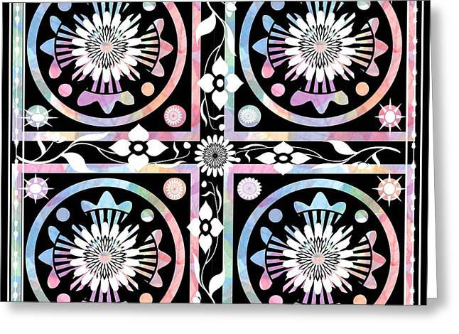 Geometric Art Greeting Cards - Bohemian Inspired Block Pattern Greeting Card by Kathy Franklin