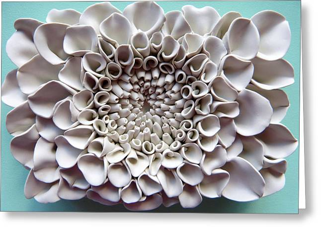 Ceramic Sculpture Ceramics Greeting Cards - Floral Wall Tile 3 Greeting Card by Lenka Kasprisin
