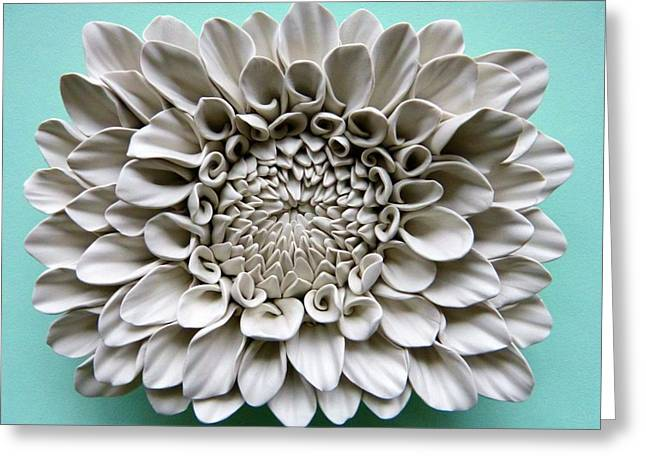 White Ceramics Greeting Cards - Floral Wall Tile Greeting Card by Lenka Kasprisin