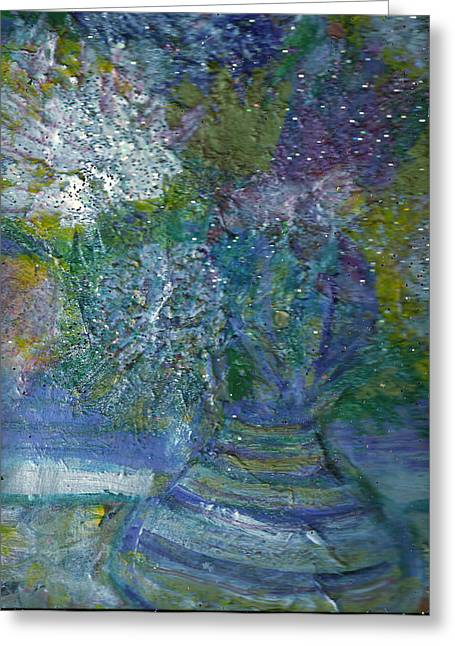 Les Mixed Media Greeting Cards - Floral with Cracked Vase Greeting Card by Anne-Elizabeth Whiteway