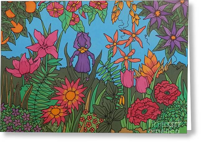 Orange Tapestries - Textiles Greeting Cards - Floral Wonder Greeting Card by Joanne Oram